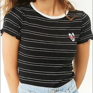 Forever 21 Black white striped crop top small